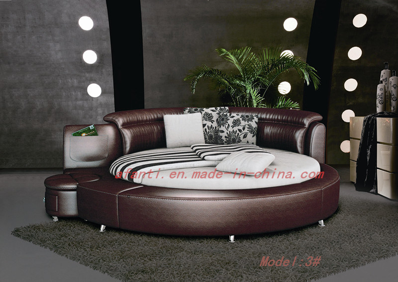 China 2015 Modern New Design Luxury Leather Round Bed 3 China