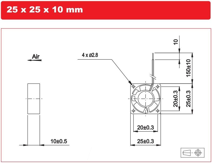 25*25*10mm DC 12V 0.08A Cooling Fan for CPU Cooler Heat Sink