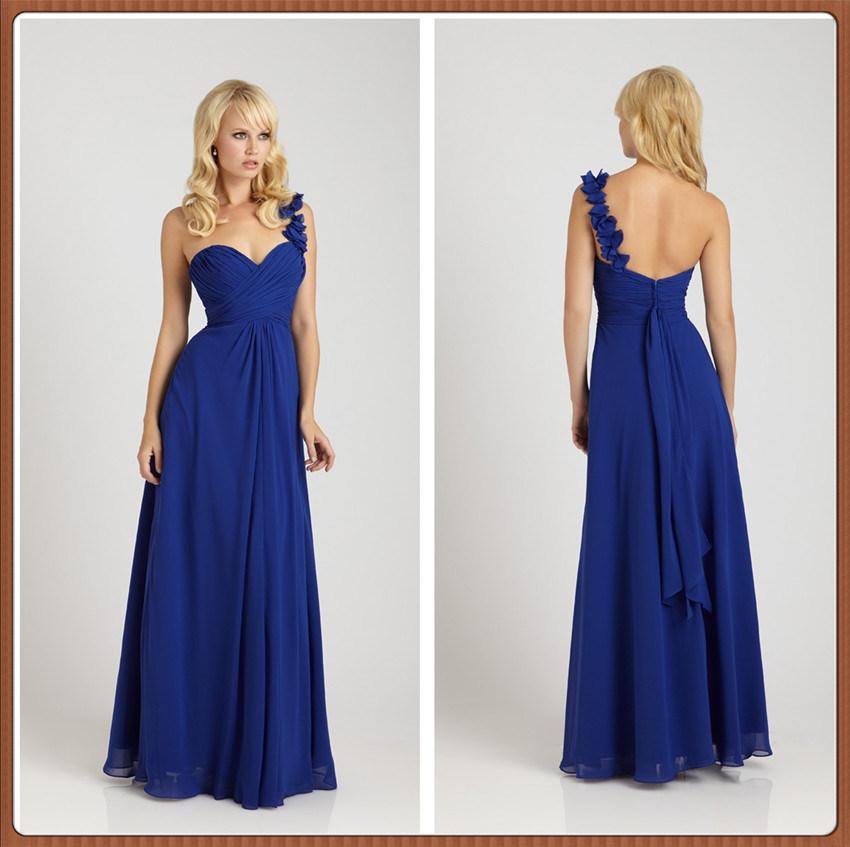 China royal blue one strap bridesmaid dress xz145 for Wedding dresses one strap