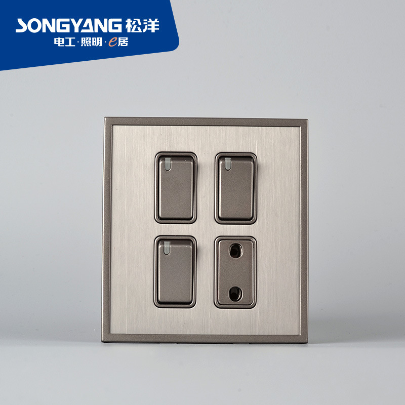 Stainless Steel Series 3gang&1socket Switch