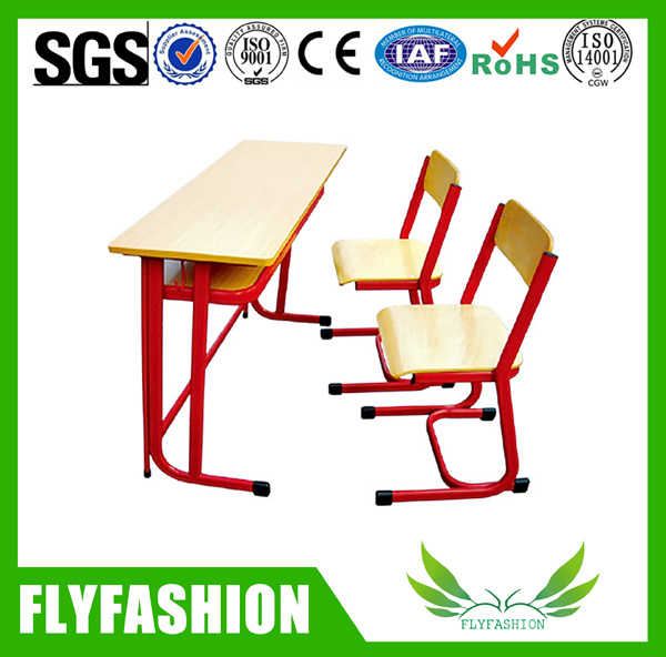 Middle School Wooden School Furniture Double Desk Sets (SF-21D)