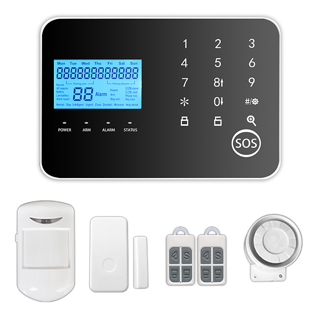 DIY Touch Panel Screen Dual Network Alarm System with Wireless Strobe Siren