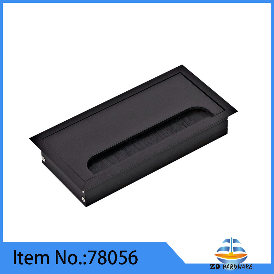 China Black Aluminum Office Desk Wire Box Cable Grommet Computer ...