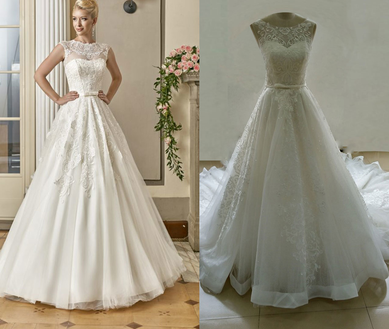 Illusion Neckline A Line Wedding Dress