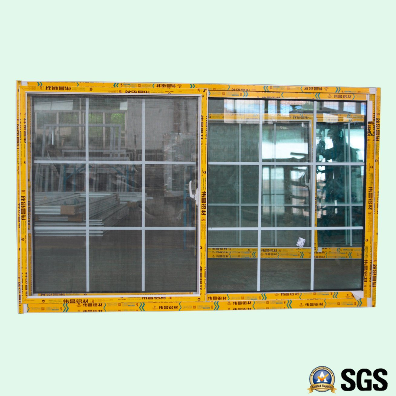 Powder Coated Aluminium Sliding Window with Grid/Aluminum Sliding Window K01007
