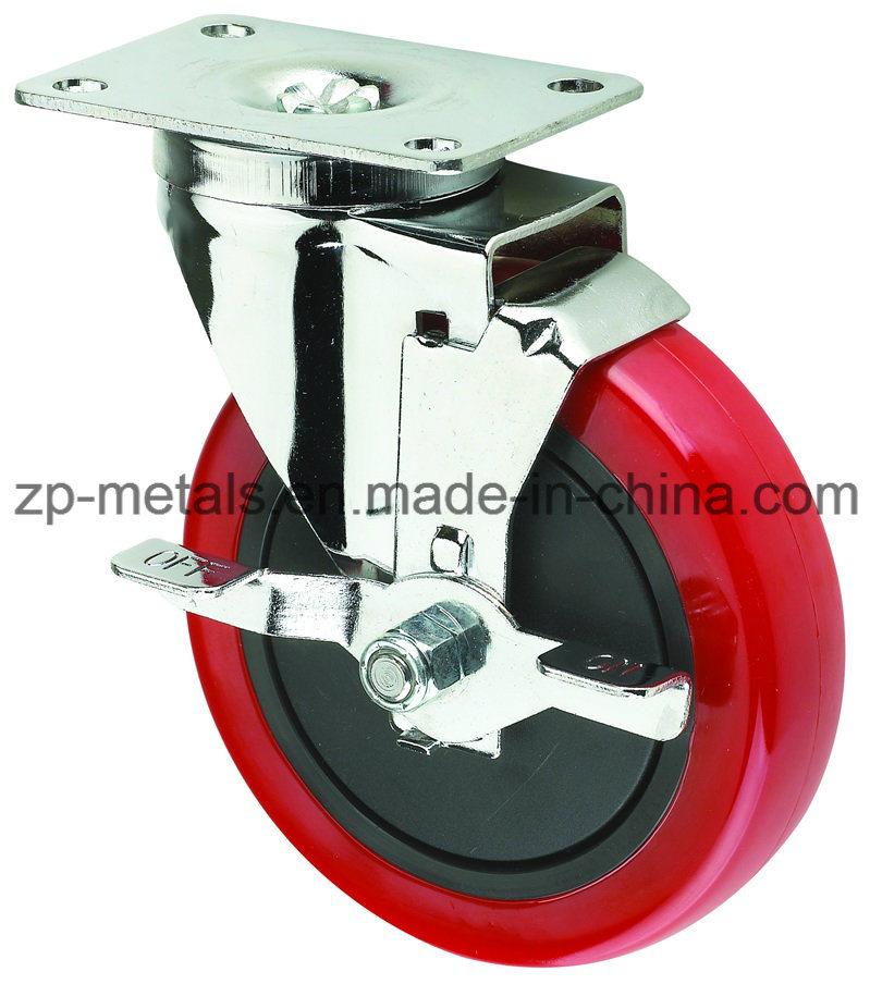 Medium-Duty Red PVC Caster Wheel with Side Brake