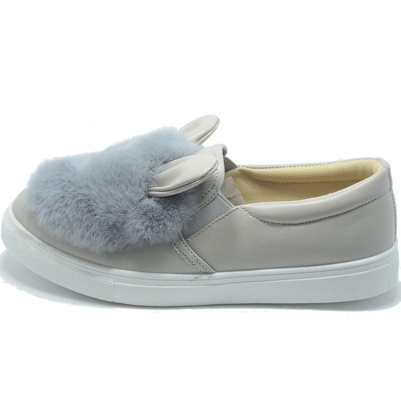 Rabbit Plush Rubber Injection Student Women Animal PU Shoes