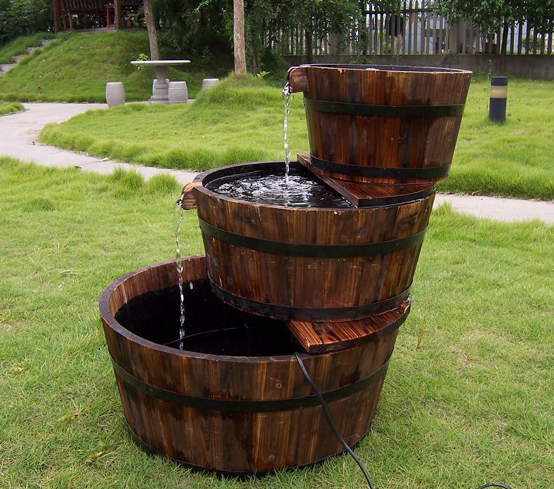 3 Tier Cascading Barrel Fountain with Pump Garden Water Feature