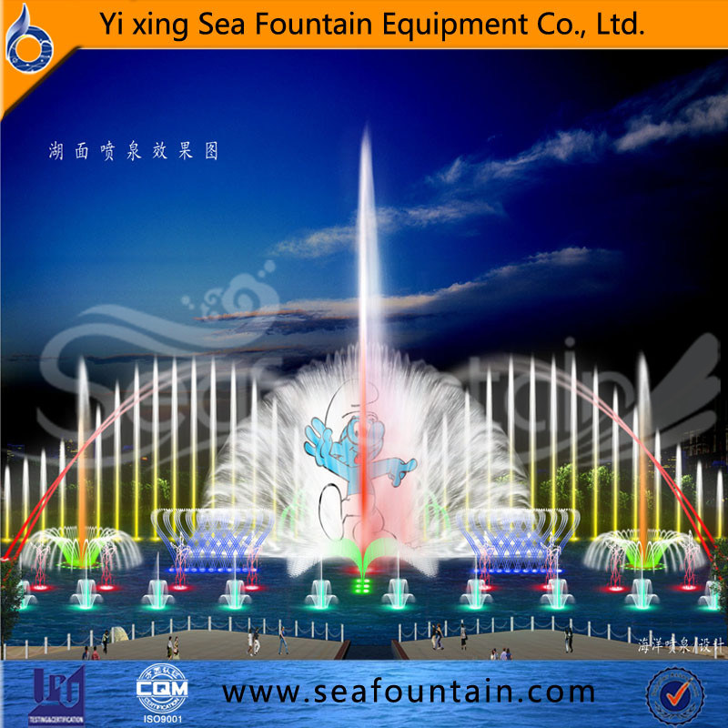 Wooden Package Outdoor Pool Multimedia Music Fountain with Water Screen Movie
