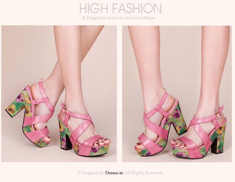Lady Leather Floral Weave Platform High Heels Women Sandals Shoes