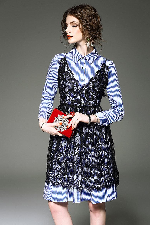 Haute Couture Women′s Lace Stitching Stripe Long Sleeve Shirts Two-Piece Dress