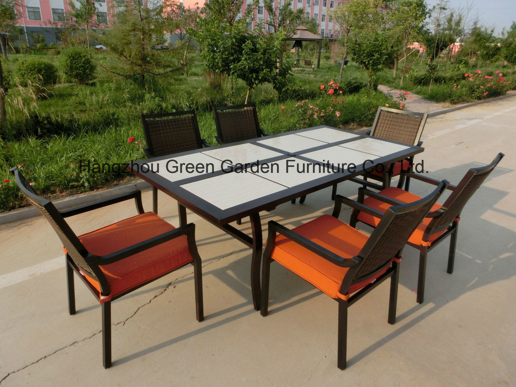 Patio Garden Furniture Dining Set with Ceramic Table & Wicker Chair