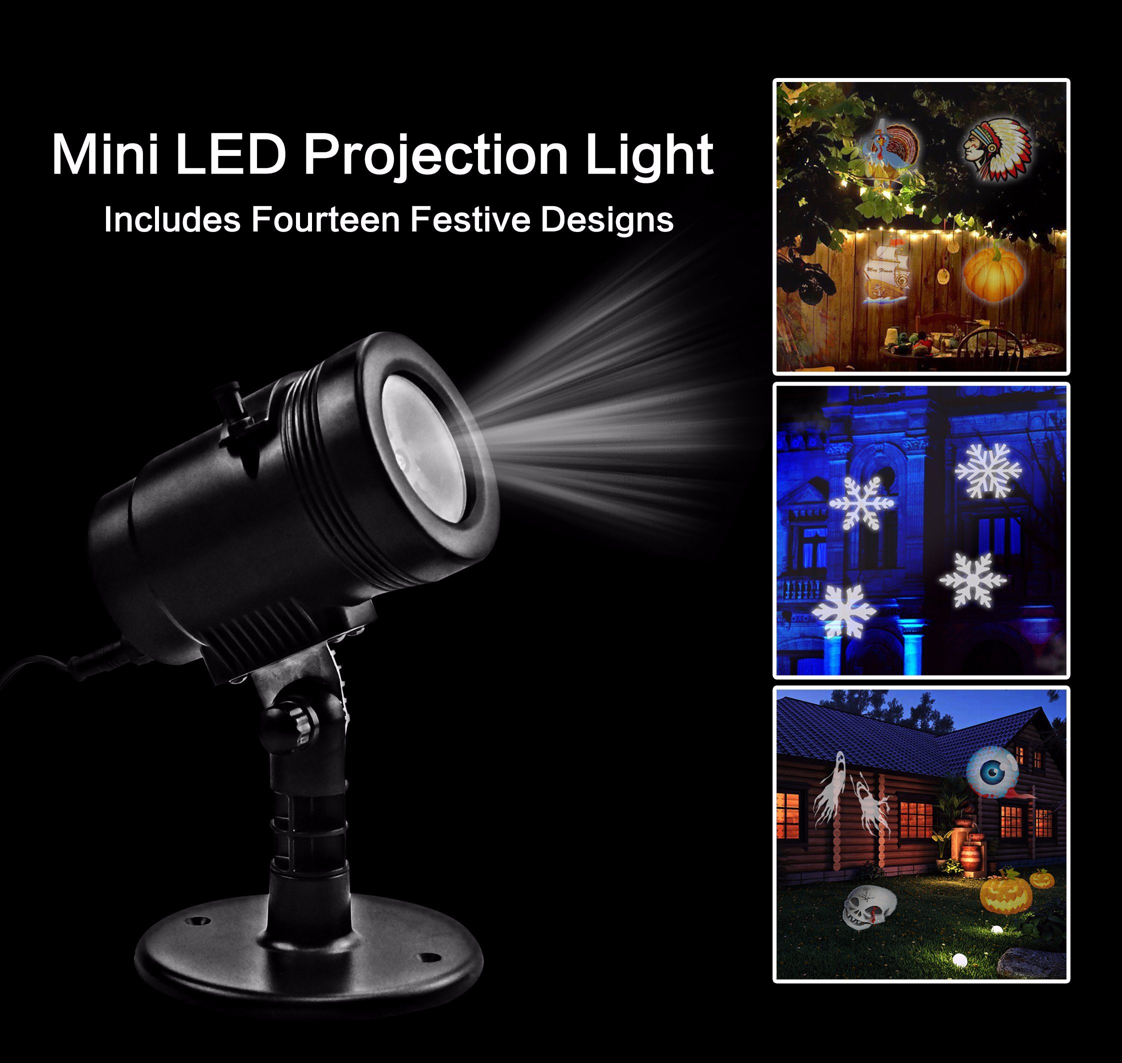 EU Plug Christmas Detachable LED Mini Projector Light for Christmas/Outdoor/Holiday Decoration