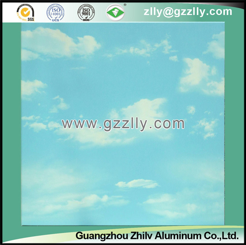 Nature Simulation Roller Coating Printing Ceiling for Indoor Decoration -Blue Sky and White Clouds