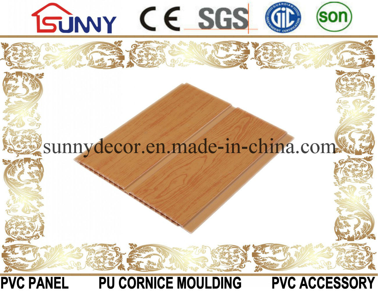 Wooden Color PVC Wall Panels, Interior Decorative PVC Tile, China Manufacturer PVC Ceilings
