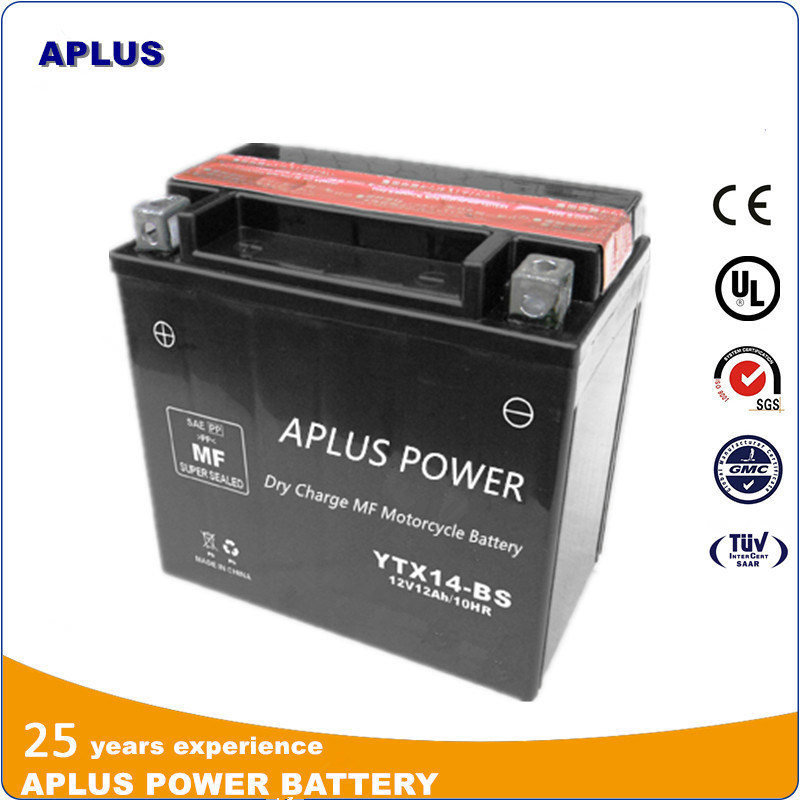 Motorcycle Starting Dry Charged Mf Lead Acid Battery Ytx14-BS 12V12ah