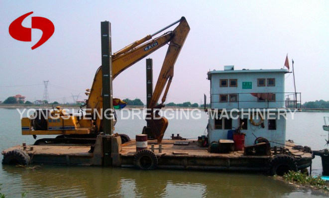 Excavator Barge in River for Sale