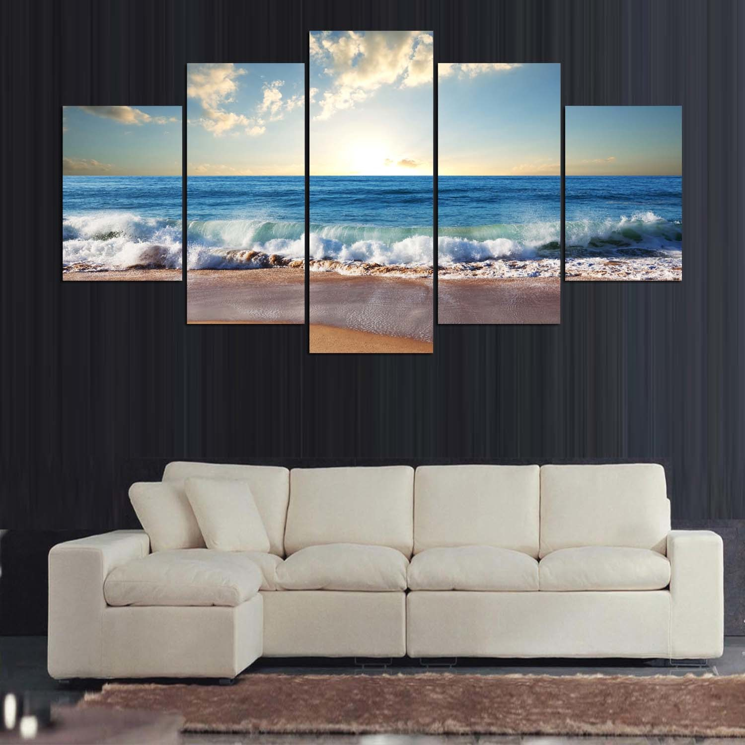5 Panels Blue Sea Water Picture Modern Wall Decor Print on Canvas Oil Painting Canvas Painting Mc-163