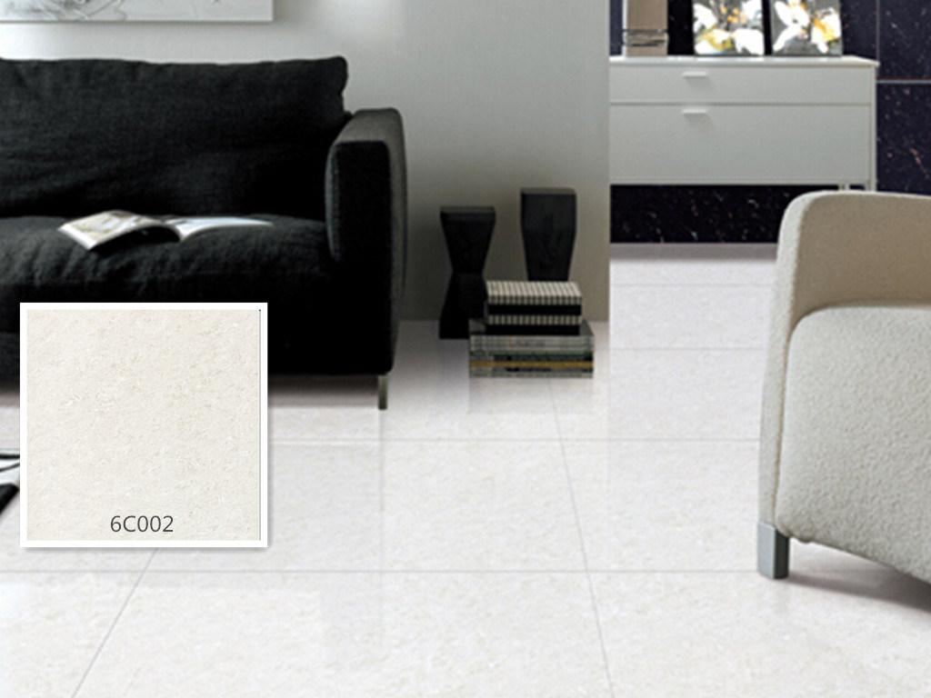 Half Body Polished Porcelain Floor Tile Crystal Jade White Color