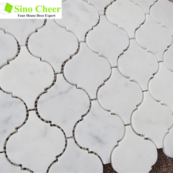 The Carrara White Marble lantern Marble Mosaic Tile for Bathroom