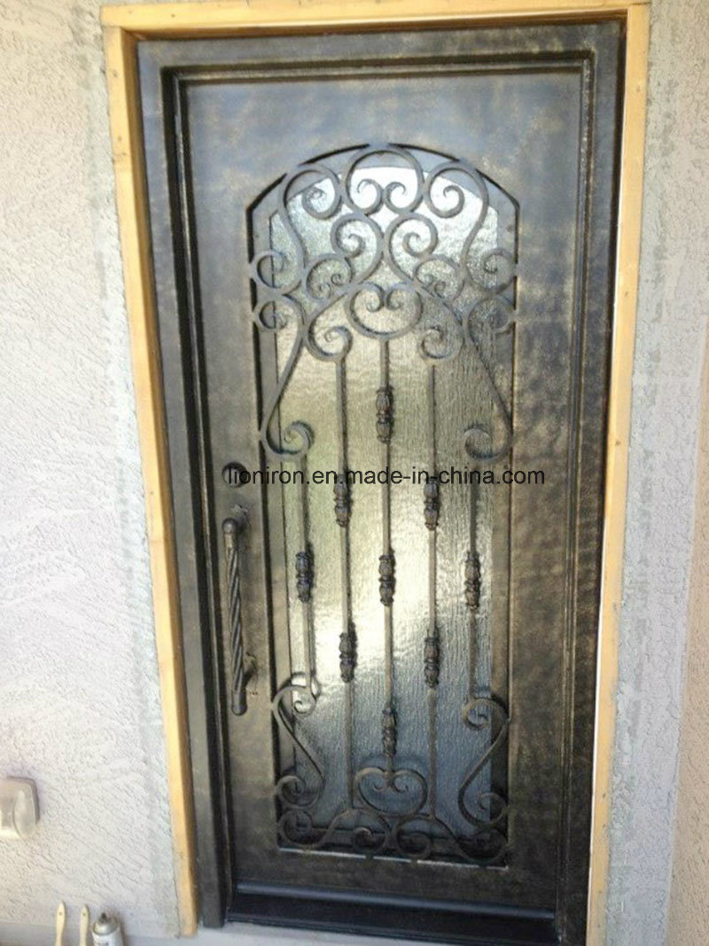 Custom Wrought Iron Front Doors with Glass