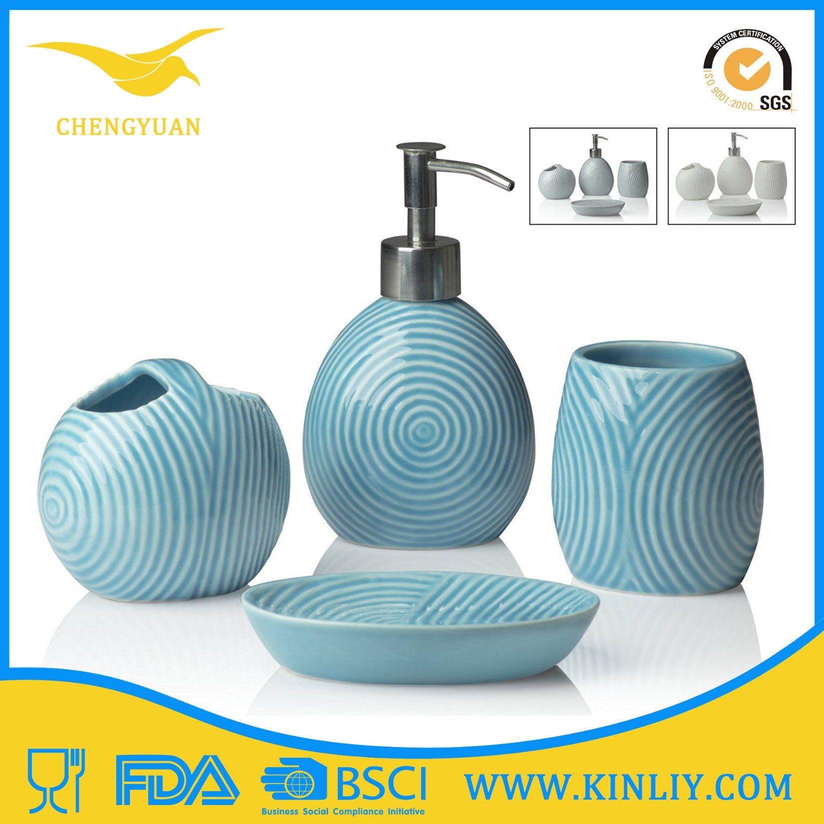 Eco-Friendly Modern Ceramic Gift Bathroom Accessory Bath Set