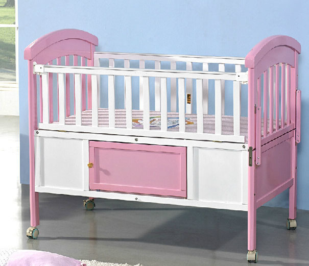 Colorful Solid Wood Baby Cot with Many Color (M-X1168)