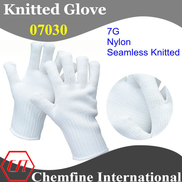 7g White Nylon Knitted Glove