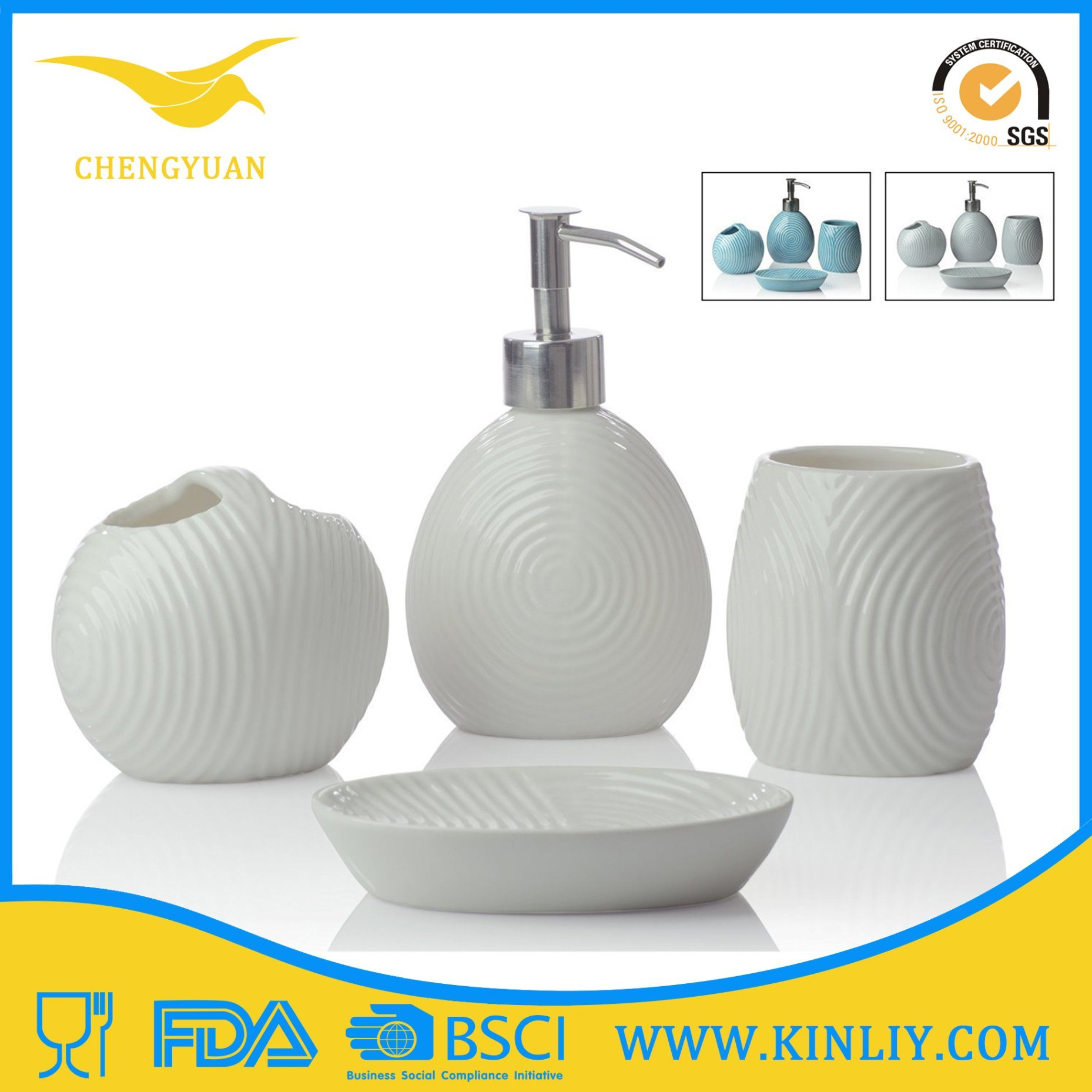 Eco-Friendly Modern Ceramic Gift Bathroom Accessory Bath Set