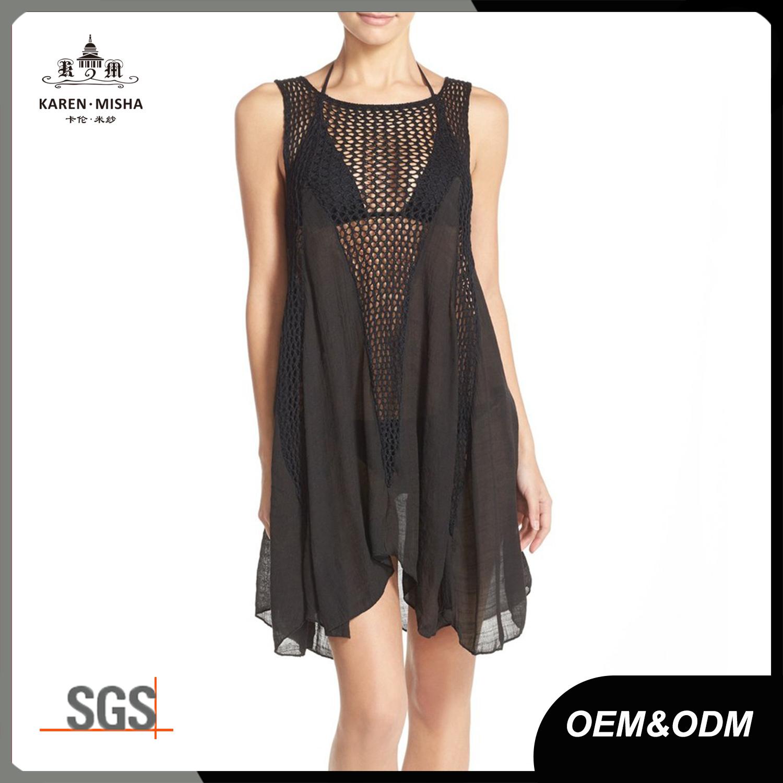 Women′s Fashion Sleeveless Cover up Summer Crochet Beach Dress