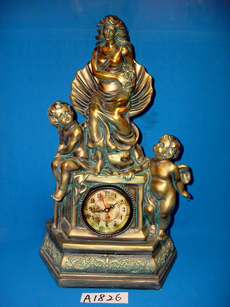 Resin Angel with Desktop Clock for Home Decoration
