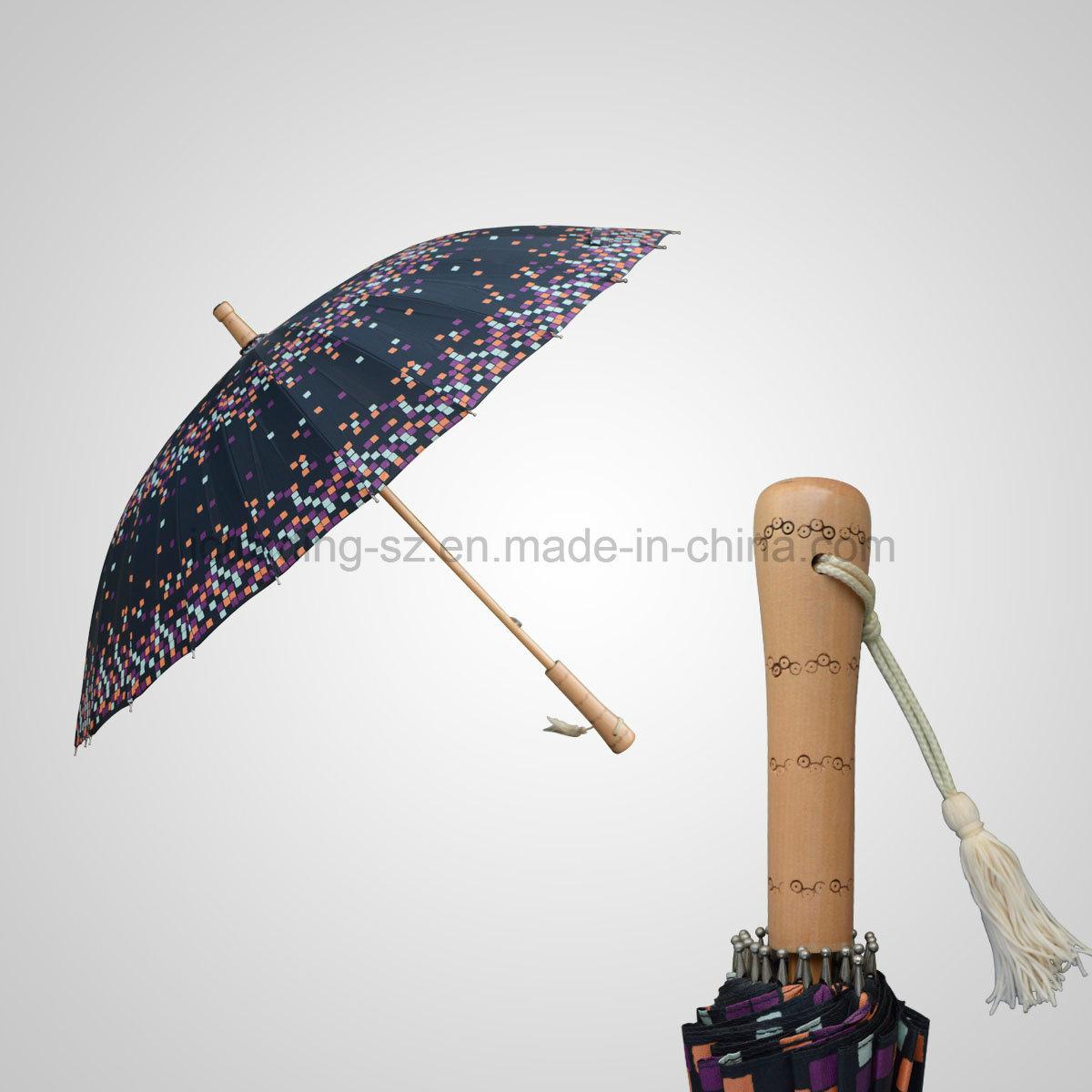 Fashion 24k Ribs Manual Straight Wooden Umbrella Rain/Sun Umbrella (JL-MQT135)