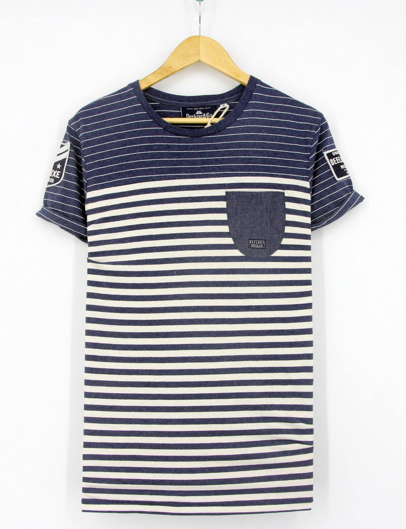 2017 Mens Cotton Fashion Yarn Dye Stripe Round Neck Short Sleeve T-Shirts Clothes