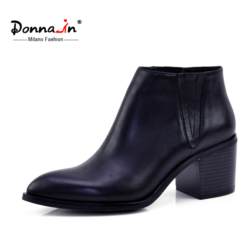 Lady Casual Pointed Toe Shoes High Heels Women Leather Boots