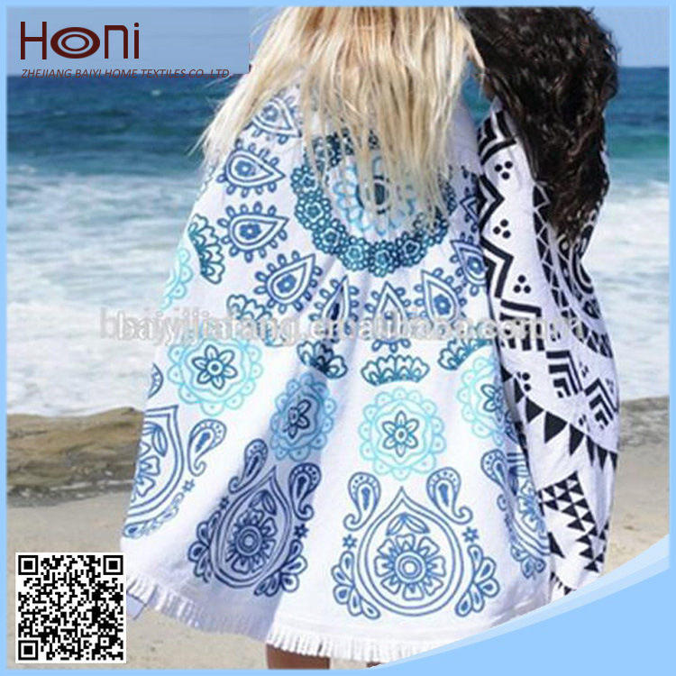 Be02 Printed Turkish Round Beach Towel Round Aztec Beach Towel