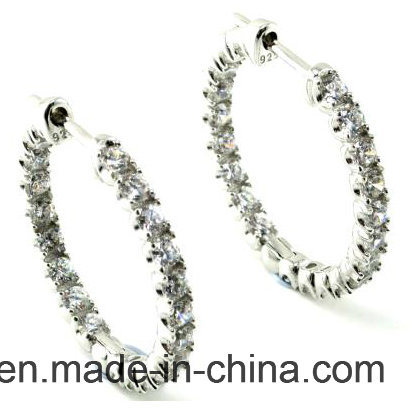 2017 New Desing 925 Sterling Silver Round Earring with CZ (E1413)