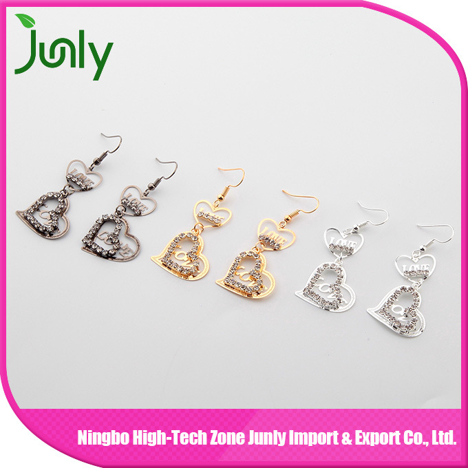 Hanging Thread Earrings Double Heart Latest Fashion Earrings