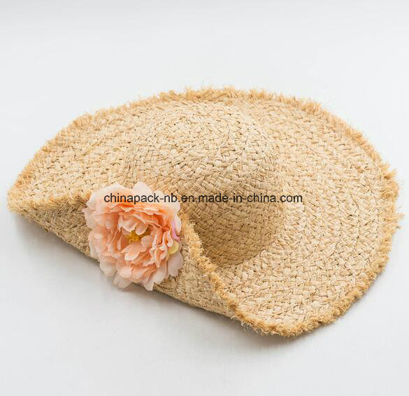 Custom Beautiful Raffia Straw Sun Beach Visor Hat with Flower Decrate (CPA_90060)