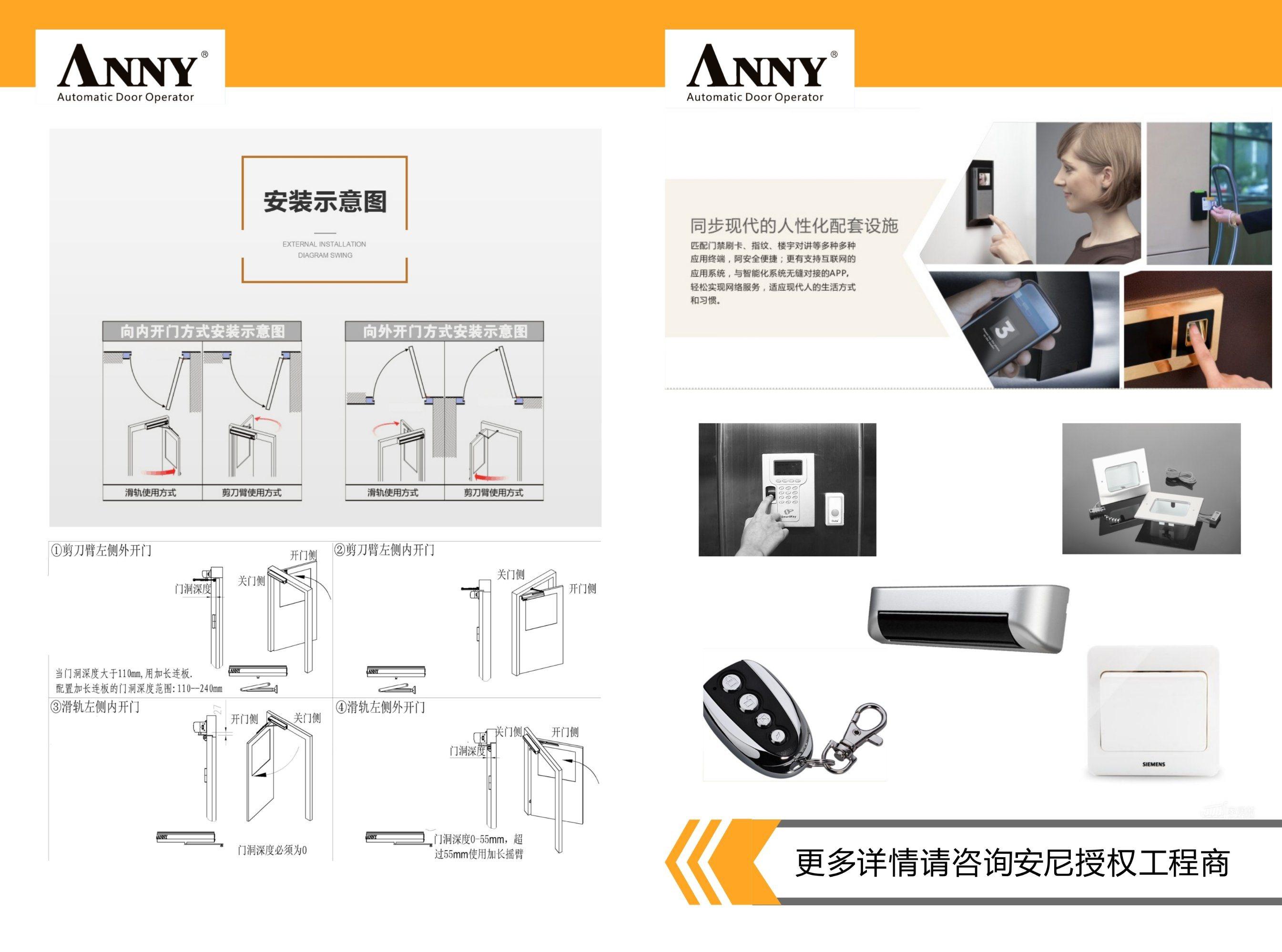 Automatic Swing Door Operator Automatic Door Opener, No Fear Push, Anti-Pressrue, (ANNY1207)
