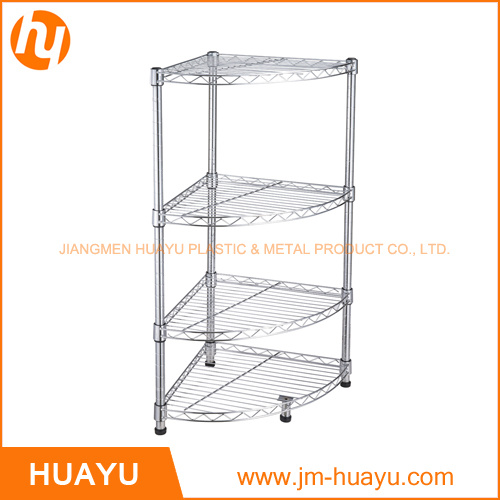 Corner Storage Rack with Chrome Finish for Home Use