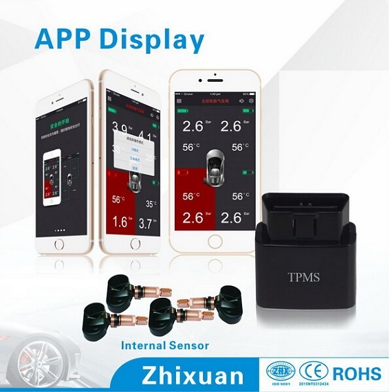 Auto Parts Internal TPMS Tire Pressure Monitor System Human Voice Alarm APP Display TPMS
