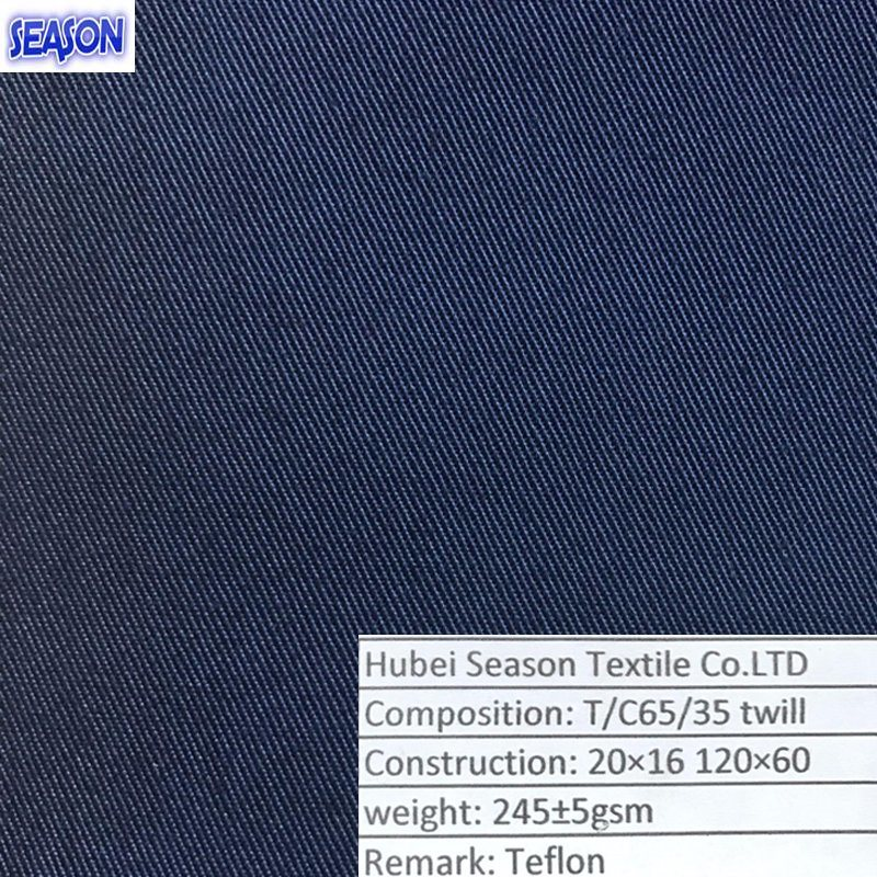 T/C 20*16 120*60 245GSM Dyed Twill Functional Teflon Cotton Woven Polyester Fabric for Workwear Clothing