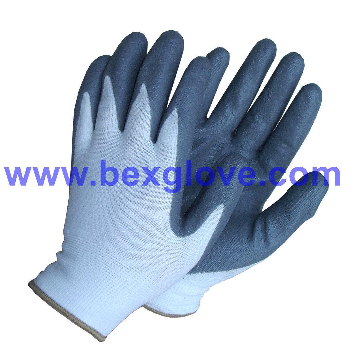 13 Gauge Polyester Liner, Nitrile Coating, Foam Finish Glove