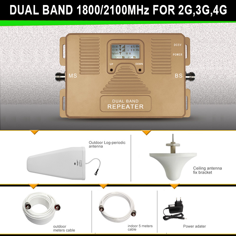 Dual Band Signal Booster 1800/2100MHz DCS WCDMA Mobile Signal Repeater