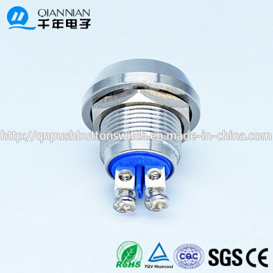 12mm Domed Head Momentary (NO) Nickel Plated Brass Piezo Push Button Switch