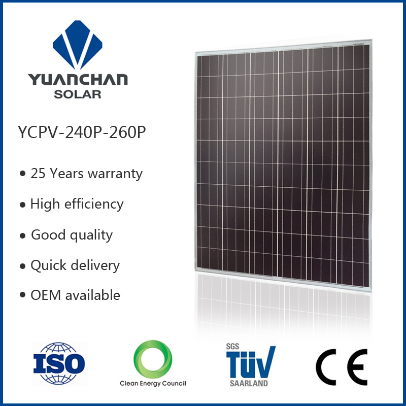 TUV ISO CE Tempered Glass and Low Price 250W Polycrystalline Solar Panels and Accessories!