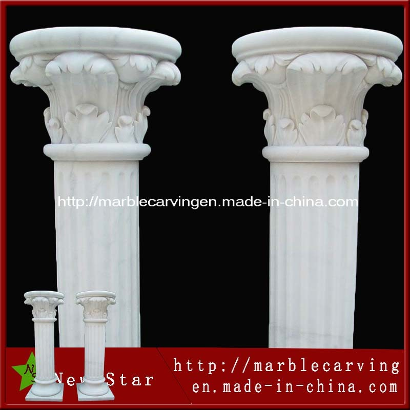 Stone Carving White Marble Roman Column for Home Decoration