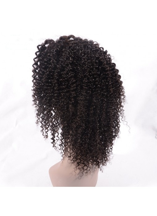 100% Virgin Human Hair Jerry Curly Lace Front Wig with Comb and Adjust Strip