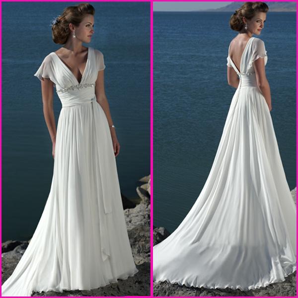 China v neck chiffon wedding dress short sleeves bridal for Drop sleeve wedding dress