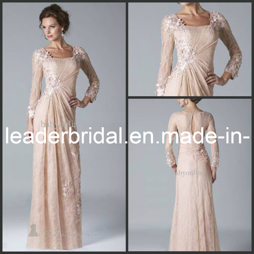 China long sleeves mother of the bride dress fashion lace for Long sleeve dresses for wedding party